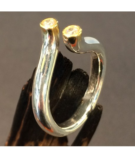 "Silver & Gold Ring with C/Z ""Tube"""