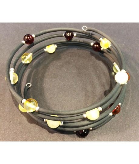 Steel and Amber Bracelet